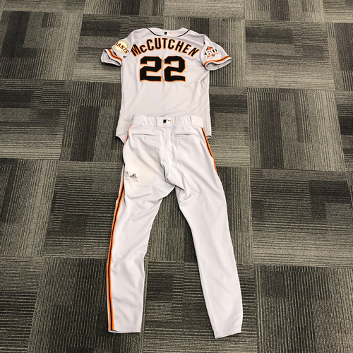 Photo of 2018 Game Used Road Jersey & Team Issued Road Pants - #22 Andrew McCutchen - Worn for 5 HOME RUNS! - Jersey Size 42 & Pants Size 33-38-32