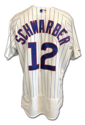 Photo of Kyle Schwarber Game-Used Jersey -- 3-3, 2B, 33rd HR -- 9/3/19 -- Mariners vs. Cubs