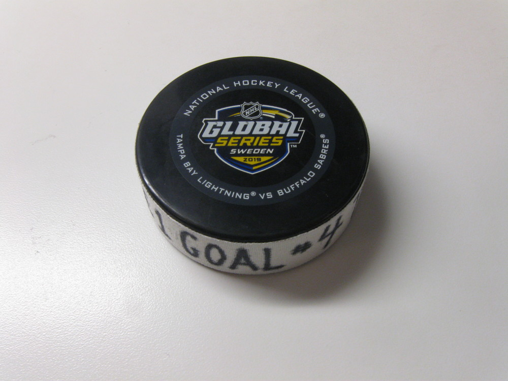 Nikita Kucherov Tampa Bay Lightning Game-Used Goal Puck from November 8, 2019 vs. Buffalo Sabres in Stockholm, Sweden