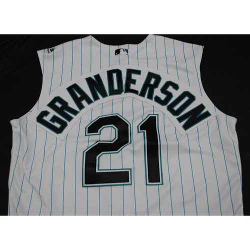 Photo of Game-Used 2019 Throwback Florida Marlins Jersey: Curtis Granderson - Size: 46 (Used July 26-28, 2019)