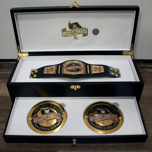 Photo of WrestleMania 36 Swarovski Crystal Mini Title & SIde Plate Treasure Box Set