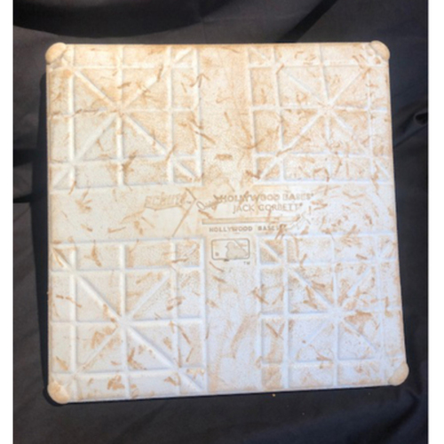Photo of Game-Used Third Base -- First Cubs Triple Play Since 5/10/1997 @ Giants -- Shogo Akiyama Lines Into Triple Play: Third Baseman Kris Bryant to First Baseman Ian Happ (Innings: Mid 5 - 9) - Reds vs. Cubs - 7/29/20