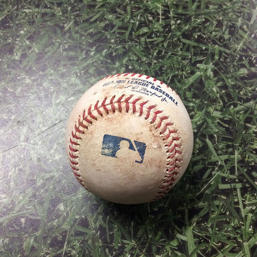 Photo of Game-Used Baseball SD@MIL 09/19/19 - Joey Lucchesi - Manny Pina (Single) & Orlando Arcia (Single)