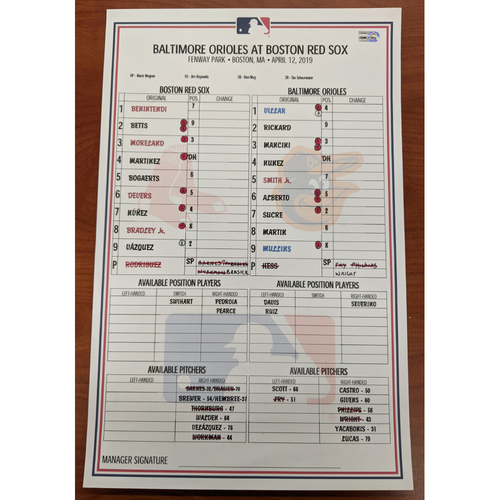 Photo of Red Sox vs. Orioles April 12, 2019 Game Used Lineup Card - Red Sox Win 6 to 4