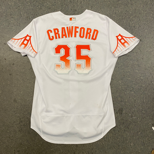 Photo of 2021 Game Used City Connect Jersey worn by #35 Brandon Crawford on 7/9 vs. WSH, 7/10 vs. WSH - HR #18 of 2021, 7/11 vs. WSH & 9/14 vs. SD - Size 48