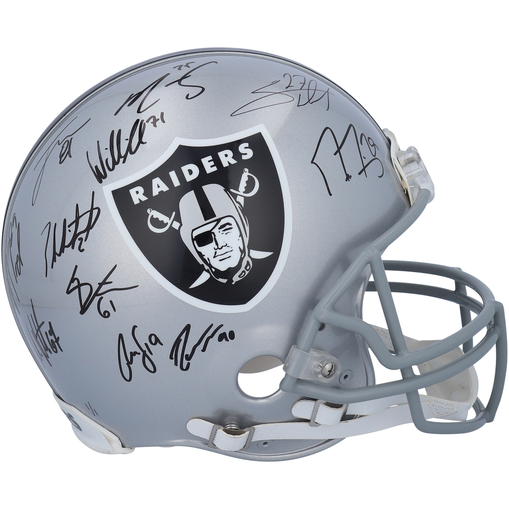 Vegas Golden Knights Autographed Las Vegas Raiders Riddell Speed Authentic Helmet Multiple Signatures - NHL Auctions Exclusives