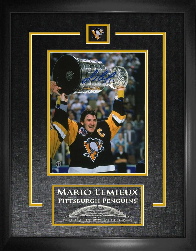 Mario Lemieux - Signed 8x10 Etched Mat Penguins Stanley Cup