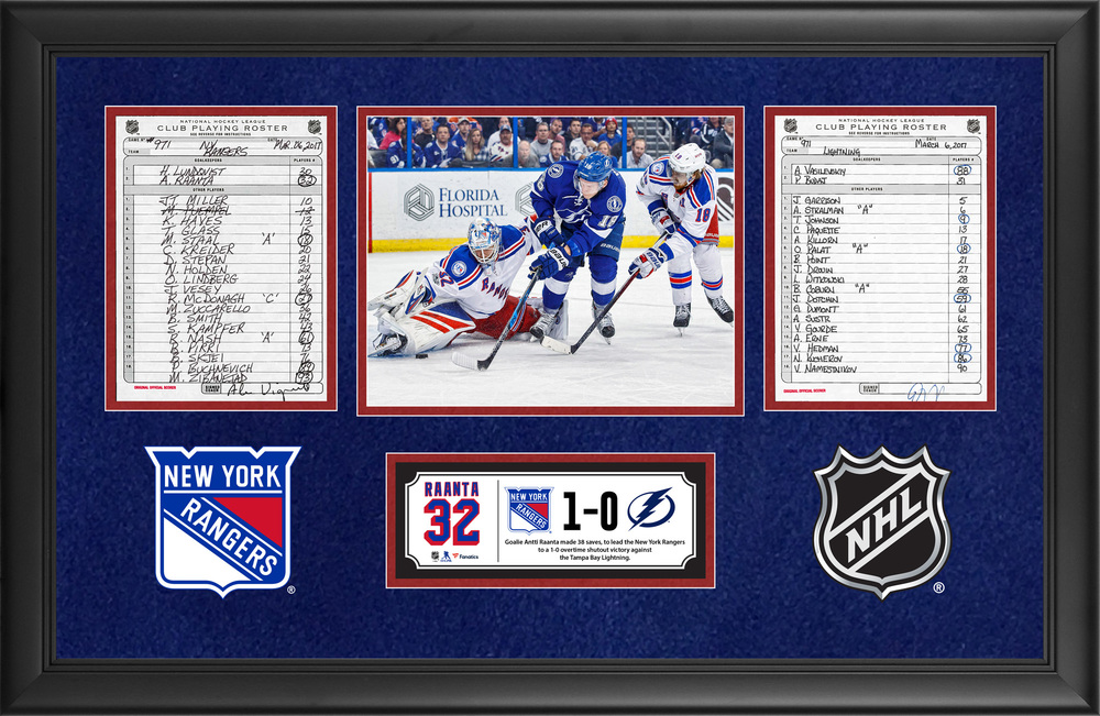 New York Rangers Framed Original Line-Up Cards From March 6, 2017 vs. Tampa Bay Lightning - Antti Raanta's 38-Save Shutout