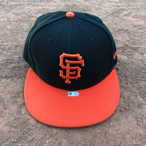 Photo of San Francisco Giants - 2017 Game-Used Alternate Orange Bill Cap Worn on 8/5, 8/7 and 8/19 by  #63 Ryder Jones - Size 7 1/8