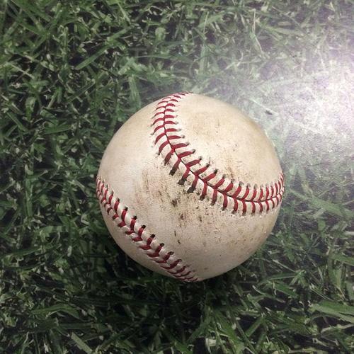 Photo of Game-Used Baseball CLE@MIL  05/08/18 - Corey Kluber - Domingo Santana: Strikeout Swinging