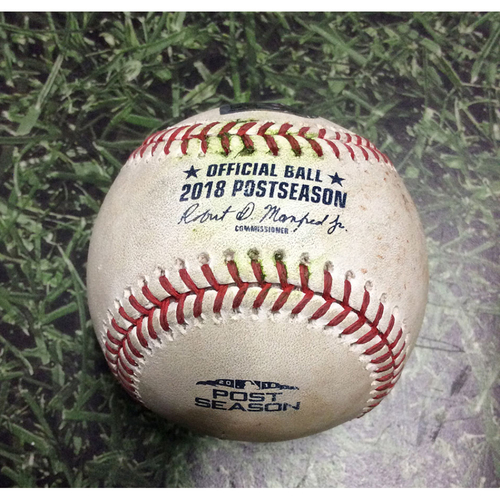 Photo of Game-Used Baseball NLCS Game 2 LAD@MIL 10/13/18 - Wade Miley - Justin Turner: Single