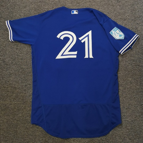 Photo of Authenticated Game Used 2019 Spring Training Jersey - #21 Luke Maile (Mar 17: 2-for-3 with 1 Double, 1 Run and 1 Walk. Mar 18: 0-for-0 with 2 Walks. Mar 26). Size 46