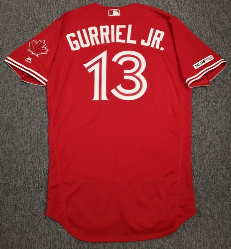 dbc3032e Photo of Authenticated Game Used Canada Day Jersey - #13 Lourdes Gurriel  Jr. (