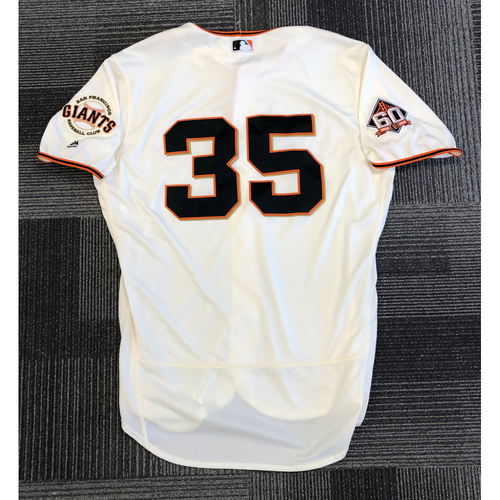 Photo of 2018 Game Used Home Cream Jersey used by #35 Brandon Crawford on 8/6 vs. Houston Astros - 2-3, HR, RBI, R & BB - Size 48
