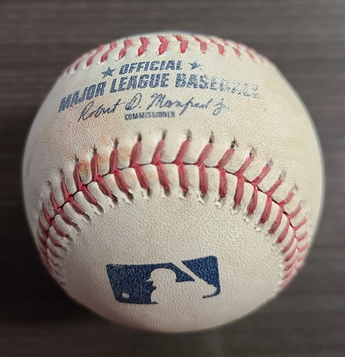 Photo of Authenticated Game Used Baseball: Foul by Teoscar Hernandez against Tanner Scott (Sep 26, 2020 vs BAL). Bottom 8. Game played in Buffalo.