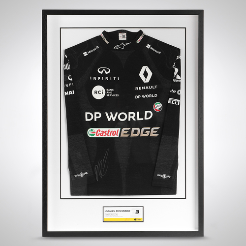 Photo of Daniel Ricciardo 2020 Framed Signed Race-worn Nomex - Tuscan GP