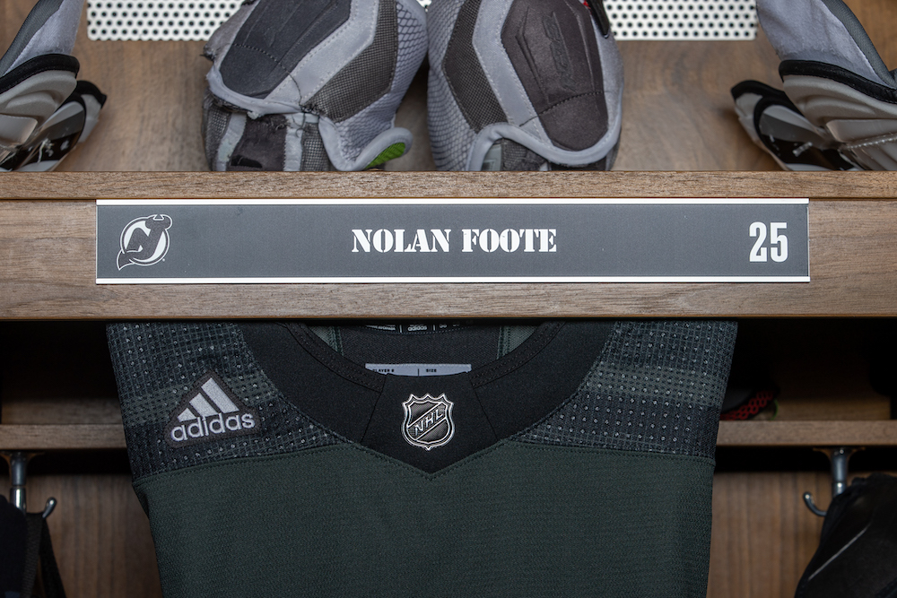Nolan Foote Autographed 2020-21 Military Themed Locker Room Nameplate - New Jersey Devils