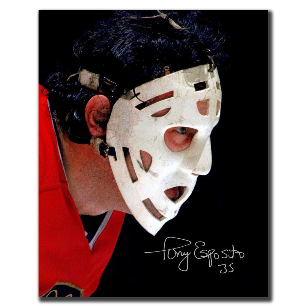 Tony Esposito Chicago Blackhawks Mask Autographed 8x10