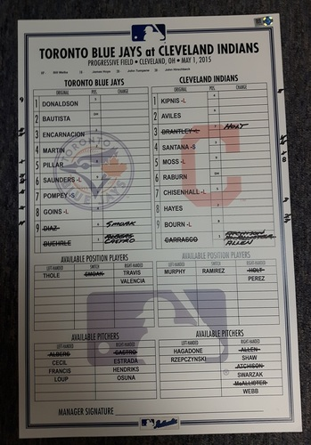 Photo of Authenticated Game Used Line-Up Card - May 1, 2015 vs Cleveland Indians. Josh Donaldson led off the game with a Home Run.