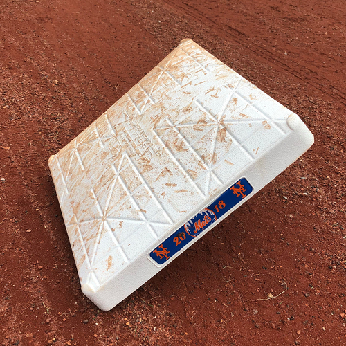 Photo of Game Used Base - Steven Matz Hits 1st Career HR - 1st Base, Innings 1-3 - Mets vs. Marlins - 9/13/18