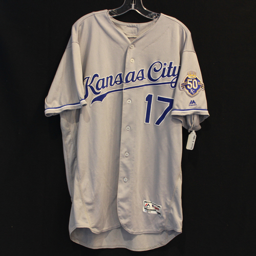 Photo of Game-Used Jersey: Hunter Dozier 74th Career Hit and 28th Career RBI (Size 48 - 9/8/18 - KC @ MIN)