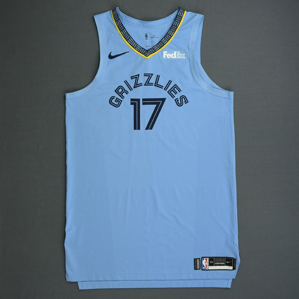 Garrett Temple - Memphis Grizzlies - 2018-19 Season - Game-Worn Blue Statement Edition Jersey - Scored 30 Points