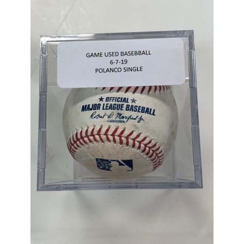 Photo of Game-Used Baseball: Jorge Polanco Single
