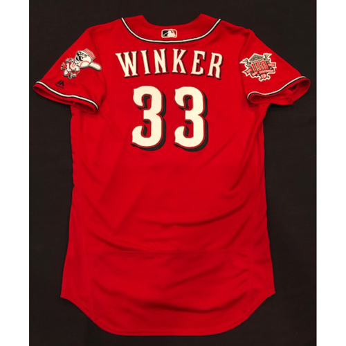 "Photo of Jesse Winker -- Team-Issued ""Los Rojos"" Jersey -- D-backs vs. Reds on 9/6/19 -- Jersey Size 44"
