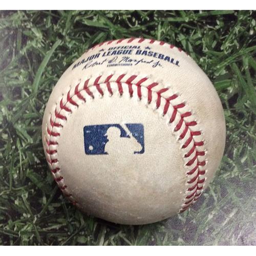 Photo of Game-Used Baseball MIA@MIL 06/06/19 - Freddy Peralta - Garrett Cooper (Strikeout) & Brian Anderson (Strikeout)