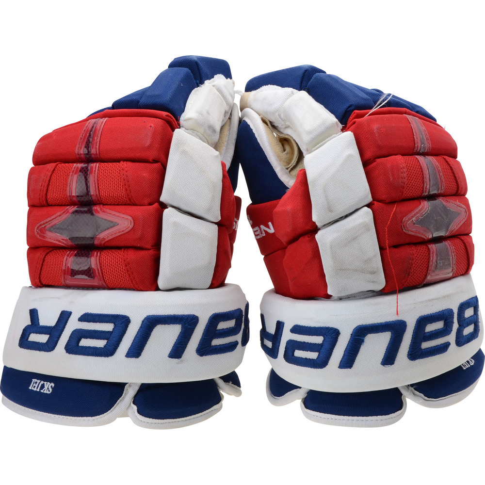 Brady Skjei New York Rangers Game-Used Red and Blue Gloves from the 2018-19 NHL Season