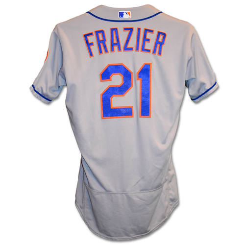 Photo of Todd Frazier #21 - Game-Used Road Grey Jersey - Mets vs. Yankees - 6/11/19