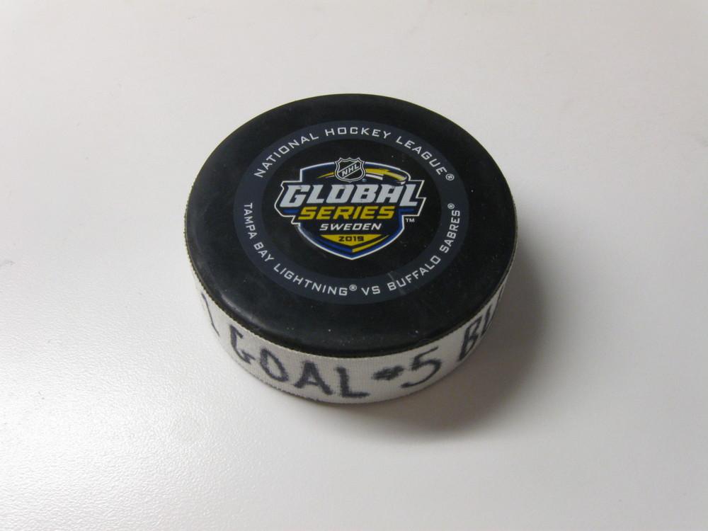 Sam Reinhart (2nd of 2) Buffalo Sabres Game-Used Goal Puck from November 8, 2019 vs. Tampa Bay Lightning in Stockholm, Sweden