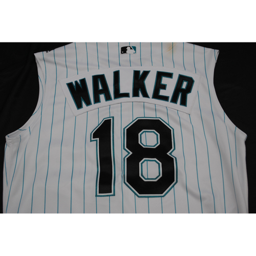 Photo of Game-Used 2019 Throwback Florida Marlins Jersey: Neil Walker - Size: 44 (Used July 26-28, 2019)