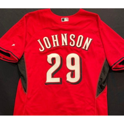 Photo of JOHNSON -- Authentic Reds Jersey -- $1 Jersey Auction -- $5 Shipping -- Size 48 (Not MLB Authenticated)