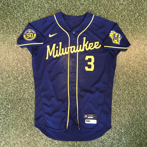 Photo of Orlando Arcia 2020 Game-Used Road Navy Jersey