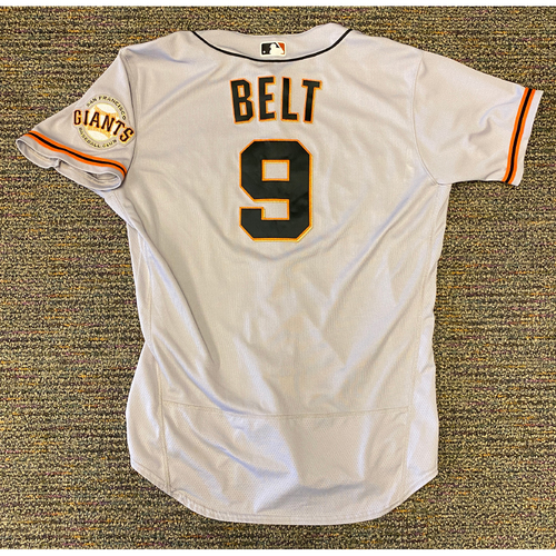 Photo of 2021 Game Used Road Jersey used by #9 Brandon Belt on 4/17 @ MIA - HR, 4/19 @ PHI - HR & 5/4 @ COL (Game 1) - Grand Slam, 5 RBI - Size 48