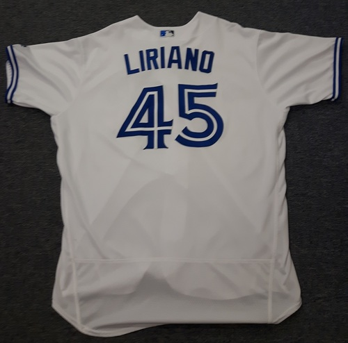 Authenticated Game Used Jersey - #45 Francisco Liriano (April 11, 2017 - Home Opener). Size 52.