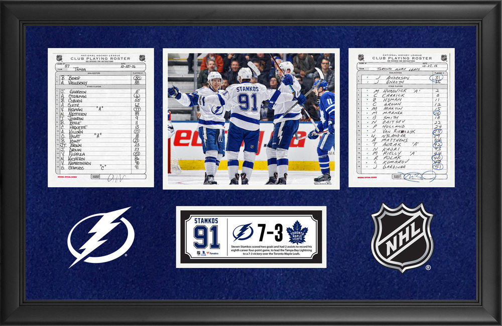 Tampa Bay Lightning Framed Original Line-Up Cards From October 25, 2016 vs. Toronto Maple Leafs - Steven Stamkos' Eighth Career Four-Point Game