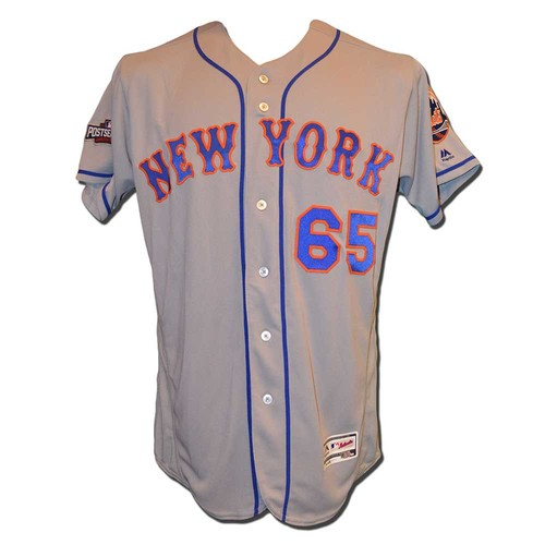 Photo of Robert Gsellman #65 - Team Issued 2016 Postseason Road Grey Jersey