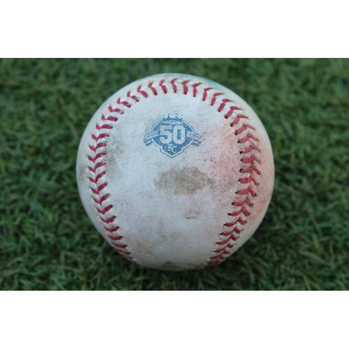 Game-Used Baseball: Mookie Betts 703rd Career Hit, Andrew Benintendi 283rd Career Hit and Steve Pearce 526th Career Hit (BOS at KC - 7/8/18)