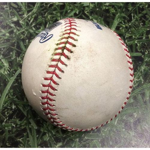 Photo of Game-Used Baseball CIN@MIL 06/22/19 - Jhoulys Chacin - Jose Iglesias: Strikeout