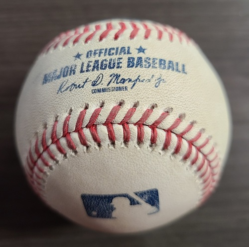 Photo of Authenticated Game Used Baseball: Foul by Rio Ruiz against Tanner Roark (Sep 27, 2020 vs BAL). Top 1. Game played in Buffalo. Final Game of 2020 Regular Season.