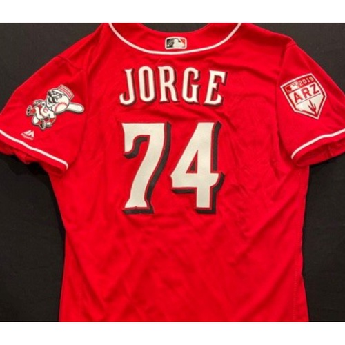 Photo of JORGE -- Authentic Reds Jersey -- $1 Jersey Auction -- $5 Shipping -- Size 46 (Not MLB Authenticated)