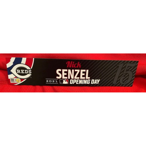 Photo of Nick Senzel -- 2021 Opening Day Locker Tag -- Game-Used -- Cardinals vs. Reds on 4/1/21