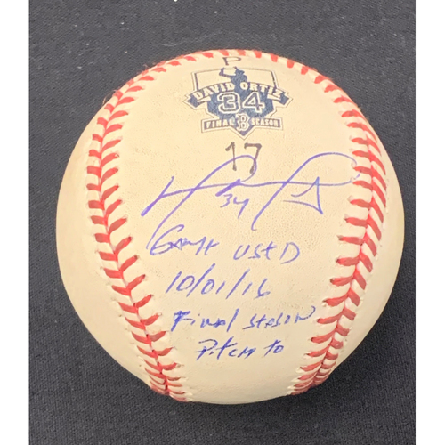 Photo of David Ortiz Autographed Toronto Blue Jays at Boston Red Sox October 1, 2016 Game Used Ball - Bottom of the first, ball
