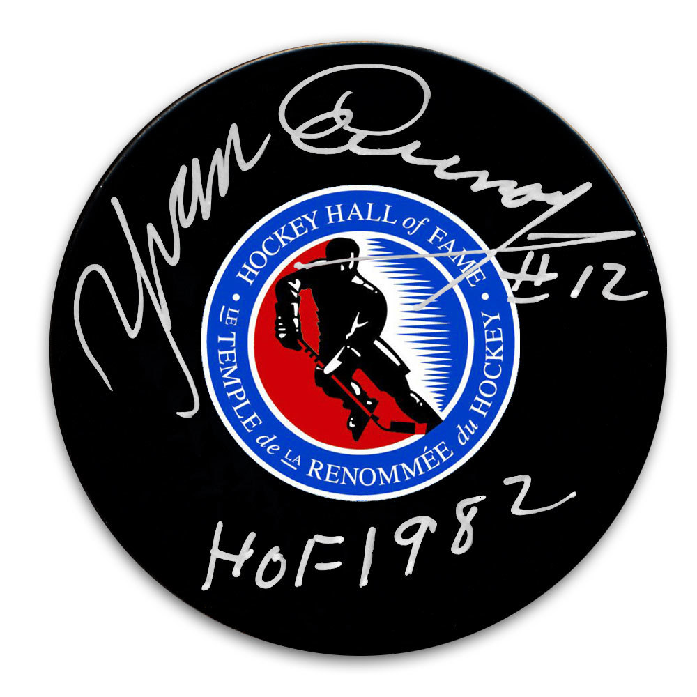 Yvan Cournoyer Hockey Hall of Fame HOF Autographed Puck