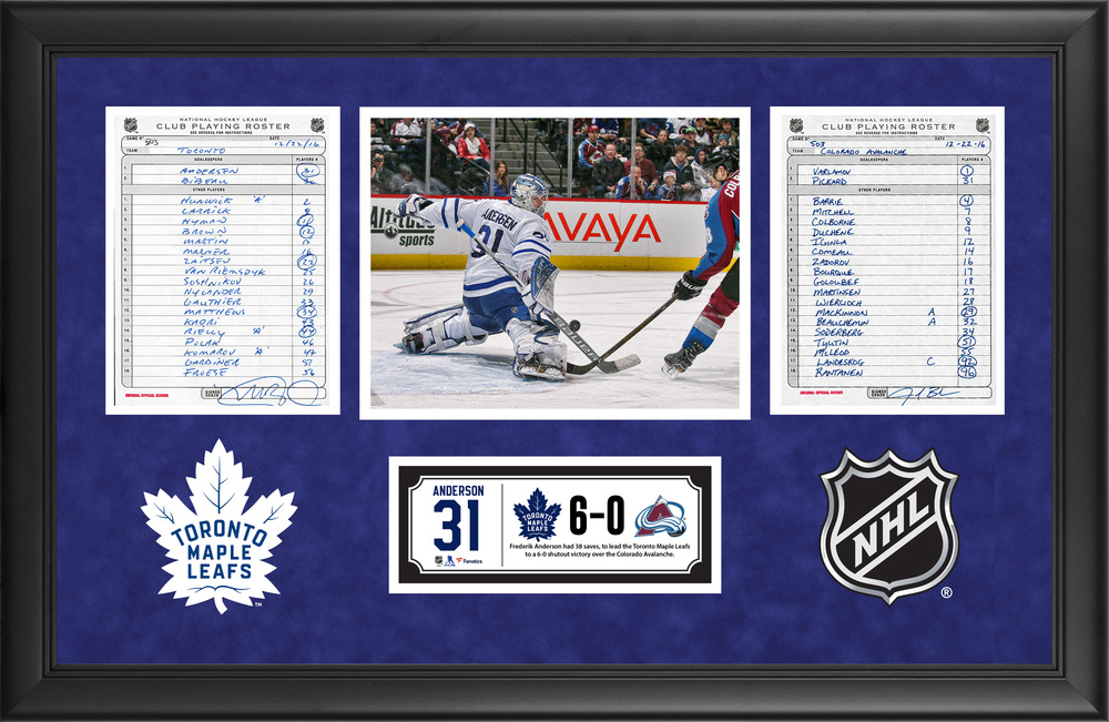 Toronto Maple Leafs Framed Original Line-Up Cards From December 22, 2016 vs. Colorado Avalanche - Frederik Anderson's 38-Save Shutout