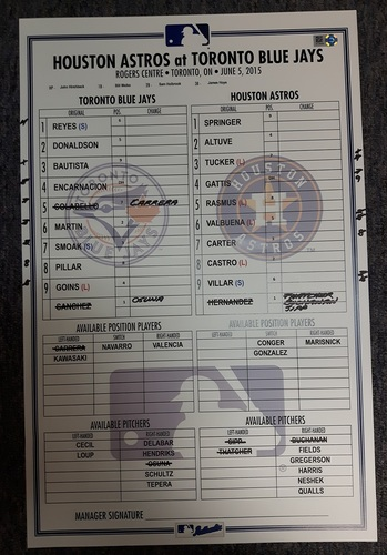 Photo of Authenticated Game Used Line-Up Card - June 5, 2015 vs Houston Astros. 8 Shutout Innings by Aaron Sanchez.