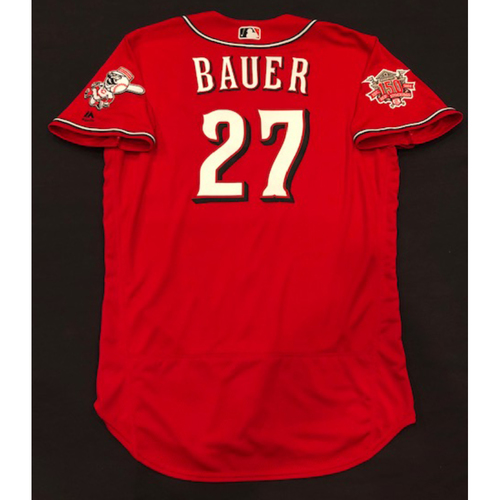 "Photo of Trevor Bauer -- Team-Issued ""Los Rojos"" Jersey -- D-backs vs. Reds on 9/6/19 -- Jersey Size 46"
