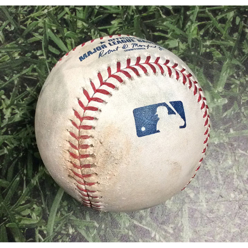 Photo of Game-Used Baseball SEA@MIL 06/26/19 - Adrian Houser - Tim Beckham: Strikeout
